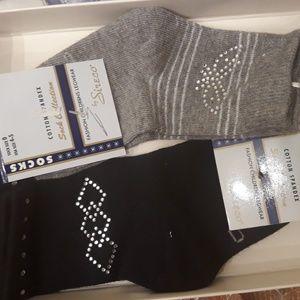6 pairs Girls' designer socks with rhinestones